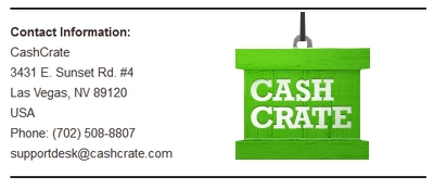 Screenshot of CashCrate's Contact Info
