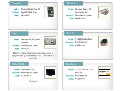 Screen shot of Recent Winners at Ipsos