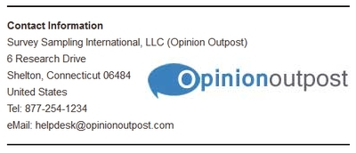 Screenshot of Opinion Outpost's Contact Information