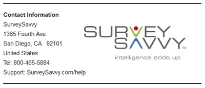 Survey Savvy Logo and Contact Info