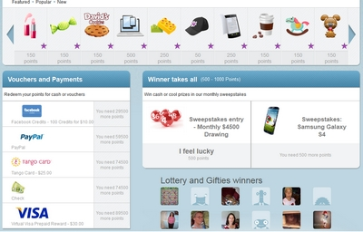 Toluna Review: Screenshot of Prizes