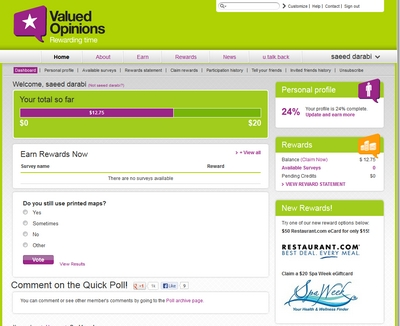 Member dashboard at Valued Opinions