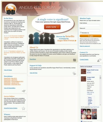 Screenshot of Angus Reid Forum Website