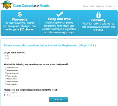 Cada Cabeza Sign Up Form Screenshot
