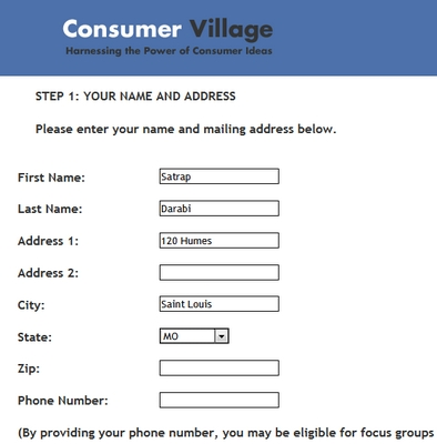Consumer Village Registration Forum
