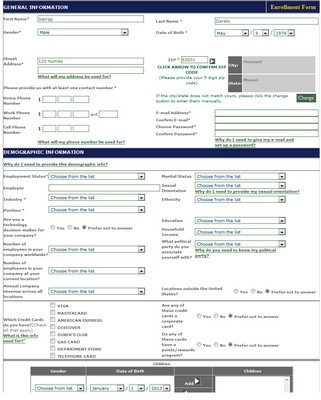 Focus Forward's Registration Form Screenshot