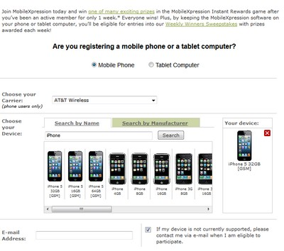 MobileXpressions Registration Form Screenshot