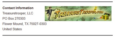 Treasure Trooper's Corporate Address Screenshot