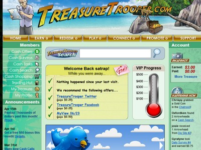 Treasure Trooper Member Dashboard Screenshot