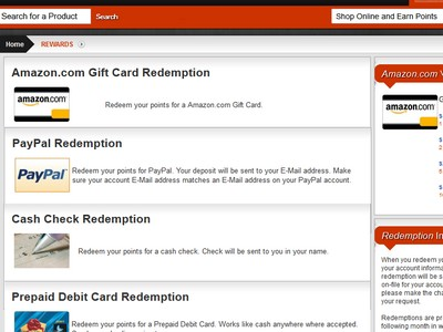 Creation Rewards Gift Cards and PayPal Options