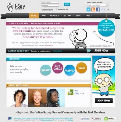 Paid Survey Site Screenshot