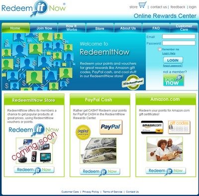 RedeemItNow.com website screenshot