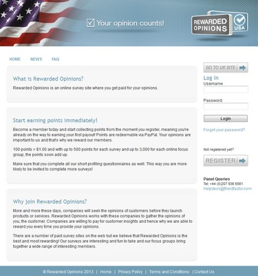 Rewarded Opinions Homepage