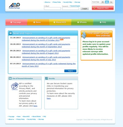 Screenshot of AIP Online Surveys Website