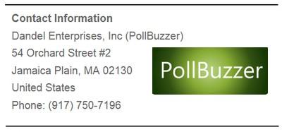 Pollbuzzer logo contact info